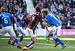 Hearts v St Johnstone…19.03.16  Tynecastle, Edinburgh<br />Murray Davidson scores his second goal<br />Picture by Graeme Hart.<br />Copyright Perthshire Picture Agency<br />Tel: 01738 623350  Mobile: 07990 594431