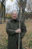 November 4, 2004, Montreal (QC) CANADA<br /> Denys Arcand posed near a tree planted in a Montreal Park, to commemorate that he and Marie-Josee Croze where chosen 2003 year personality by LaPresse (newspaper) and Radio Canada (TV network)