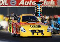 Nov 7, 2013; Pomona, CA, USA; NHRA funny car driver Bob Bode during qualifying for the Auto Club Finals at Auto Club Raceway at Pomona. Mandatory Credit: Mark J. Rebilas-