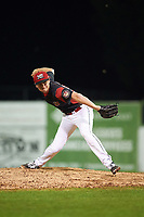 Batavia Muckdogs relief pitcher Tyler Frohwirth (56) delivers a pitch during a game against the Tri-City ValleyCats on July 14, 2017 at Dwyer Stadium in Batavia, New York.  Batavia defeated Tri-City 8-4.  (Mike Janes/Four Seam Images)