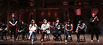 "Roddy Kennedy, Jennie Harney, Eliza Ohman, Ryan Vasquez, David Guzman, Karla Garcia and Zelig Williams from the 'Hamilton' cast during a Q & A before The Rockefeller Foundation and The Gilder Lehrman Institute of American History sponsored High School student #EduHam matinee performance of ""Hamilton"" at the Richard Rodgers Theatre on June 6, 2018 in New York City."