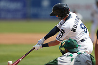 West Michigan Michigan Whitecaps outfielder Danny Woodrow (8) swings the bat against the Fort Wayne TinCaps during the Midwest League baseball game on April 26, 2017 at Fifth Third Ballpark in Comstock Park, Michigan. West Michigan defeated Fort Wayne 8-2. (Andrew Woolley/Four Seam Images)