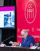 La Chambre de commerce du Montréal métropolitain dévoile les huit gagnants de l'appel de projets créatifs annoncé au mois de juin dernier dans le cadre de sa grande initiative « J'aime travailler au centre-ville », le vendredi 24 septembre ,lors d'une conférence de presse, au Westin Montréal.<br /> <br /> Sur la photo : Pierre Fitzgibbon, ministre des Finances, de l'Économie et de l'Innovation<br /> <br /> PHOTO : Agence Québec Presse - Ryan Rumpel