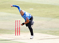 Tymal Mills bowls for Sussex during Kent Spitfires vs Sussex Sharks, Vitality Blast T20 Cricket at The Spitfire Ground on 12th September 2020