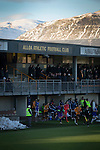 Alloa Athletic 0 Peterhead 1,14/01/2017. Recreation Park, Scottish League One. The players running out at Recreation Park before Alloa Athletic played Peterhead (in blue) in a Scottish League One fixture. The club was formed in 1878 as Clackmannan County, changing the name to Alloa Athletic in 1883. The visitors won the match by one goal to nil, watched by a crowd of 504. Photo by Colin McPherson.
