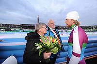 SCHAATSEN: AMSTERDAM: Olympisch Stadion, 01-03-2014, KPN NK Sprint/Allround, Coolste Baan van Nederland, Michel Mulder met z'n ouders Leidy en Luud, ©foto Martin de Jong