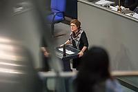 """15. Sitzung des Bundestages am Freitag den 23. Februar 2018.<br /> Im Bild: Britta Hasselmann von der Partei Buendnis 90/Die Gruenen spricht in der aktuellen Stunde auf Antrag ihrer Partei zum Thema """"Demokratie/Erinnerungskultur angesichts rechtsextremistischer Angriffe"""".<br /> 23.2.2018, Berlin<br /> Copyright: Christian-Ditsch.de<br /> [Inhaltsveraendernde Manipulation des Fotos nur nach ausdruecklicher Genehmigung des Fotografen. Vereinbarungen ueber Abtretung von Persoenlichkeitsrechten/Model Release der abgebildeten Person/Personen liegen nicht vor. NO MODEL RELEASE! Nur fuer Redaktionelle Zwecke. Don't publish without copyright Christian-Ditsch.de, Veroeffentlichung nur mit Fotografennennung, sowie gegen Honorar, MwSt. und Beleg. Konto: I N G - D i B a, IBAN DE58500105175400192269, BIC INGDDEFFXXX, Kontakt: post@christian-ditsch.de<br /> Bei der Bearbeitung der Dateiinformationen darf die Urheberkennzeichnung in den EXIF- und  IPTC-Daten nicht entfernt werden, diese sind in digitalen Medien nach §95c UrhG rechtlich geschuetzt. Der Urhebervermerk wird gemaess §13 UrhG verlangt.]"""