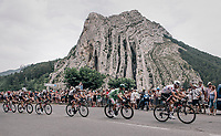 'Polka Dot' Warren Barguil (FRA/Sunweb) & 'Green' Michael Matthews (AUS/Sunweb) riding through the town of Sisteron with it's distinctive monumental rock formations<br /> <br /> 104th Tour de France 2017<br /> Stage 19 - Embrun › Salon-de-Provence (220km)