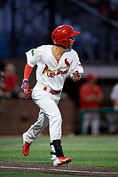 Johnson City Cardinals center fielder Jonatan Machado (51) runs to first base during a game against the Danville Braves on July 28, 2018 at TVA Credit Union Ballpark in Johnson City, Tennessee.  Danville defeated Johnson City 7-4.  (Mike Janes/Four Seam Images)