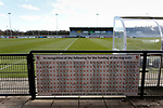 A sponsor board acknowledging people who funded the dug outs. Darlington 1883 v Southport, National League North, 16th February 2019. The reborn Darlington 1883 share a ground with the town's Rugby Union club. <br />