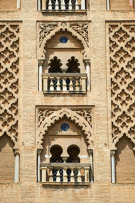 Moorish architectural detail on the old mosque tower, now the bell tower of the Cathedral of Seville, Spain