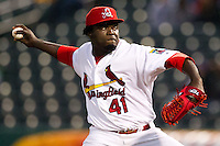 Maikel Cleto (41) of the Springfield Cardinals delivers a pitch during a game against the Northwest Arkansas Naturals on May 13, 2011 at Hammons Field in Springfield, Missouri.  Photo By David Welker/Four Seam Images.