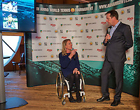 Rotterdam, Netherlands, Januari 06, 2016,  Press conference ABNAMROWTT, Wheelchair Tournament Director Esther Vergeer is being interviewd by Edward van Cuilenborg, <br /> Photo: Tennisimages/Henk Koster