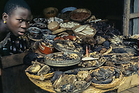 Ibadan, Nigeria.  Woman Selling Traditional Medicine and Amulets.