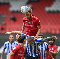 Bristol City's Nathan Baker battles with Sheffield Wednesday's Connor Wickham<br /> <br /> Photographer David Horton/CameraSport<br /> <br /> The EFL Sky Bet Championship - Bristol City v Sheffield Wednesday - Sunday 28th June 2020 - Ashton Gate Stadium - Bristol <br /> <br /> World Copyright © 2020 CameraSport. All rights reserved. 43 Linden Ave. Countesthorpe. Leicester. England. LE8 5PG - Tel: +44 (0) 116 277 4147 - admin@camerasport.com - www.camerasport.com