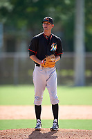 Miami Marlins Scott Squier during a minor league Spring Training intrasquad game on March 31, 2016 at Roger Dean Sports Complex in Jupiter, Florida.  (Mike Janes/Four Seam Images)