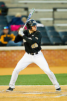 Luke Czajkowski (26) of the Wake Forest Demon Deacons at bat against the West Virginia Mountaineers at Wake Forest Baseball Park on February 24, 2013 in Winston-Salem, North Carolina.  The Demon Deacons defeated the Mountaineers 11-3.  (Brian Westerholt/Four Seam Images)