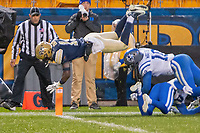 Pitt wide receiver V'Lique Carter scores on a 16-yard touchdown run. The Pitt Panthers football team defeated the Duke Blue Devils 54-45 on November 10, 2018 at Heinz Field, Pittsburgh, Pennsylvania.