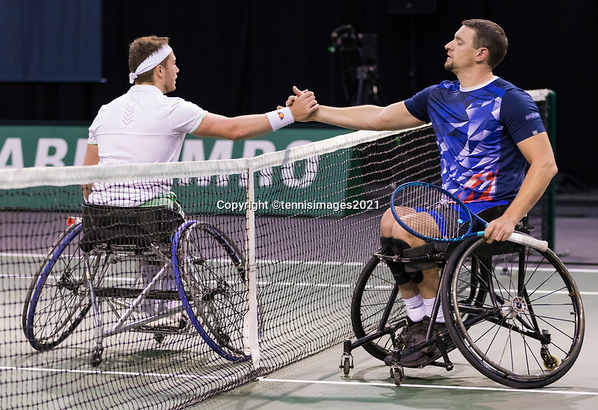 Rotterdam, The Netherlands, 6 march  2021, ABNAMRO World Tennis Tournament, Ahoy,  Semi final wheelchair: Alfie Hewett (GBR) Joachim Gerard (BEL). Photo: www.tennisimages.com