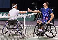 Rotterdam, The Netherlands, 6 march  2021, ABNAMRO World Tennis Tournament, Ahoy,  Semi final wheelchair: Alfie Hewett (GBR) Joachim Gerard (BEL). Photo: www.tennisimages.com