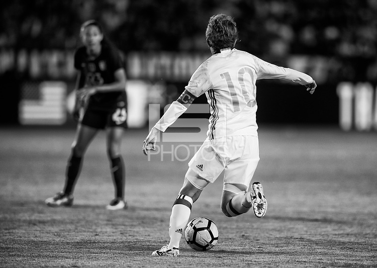 Carson, CA - August 3, 2017: The USWNT defeated Japan 3-0 during the final game of the Tournament of Nations in StubHub Center.Carson, CA - August 3, 2017: The USWNT defeated Japan 3-0 during the final game of the Tournament of Nations in StubHub Center.