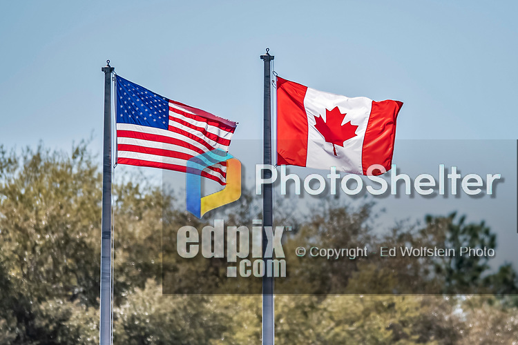 6 March 2019: Both the US and Canada Flags fly in the outfield during a Spring Training Game between the Toronto Blue Jays and the Philadelphia Phillies at Dunedin Stadium in Dunedin, Florida. The Blue Jays defeated the Phillies 9-7 in Grapefruit League play. Mandatory Credit: Ed Wolfstein Photo *** RAW (NEF) Image File Available ***