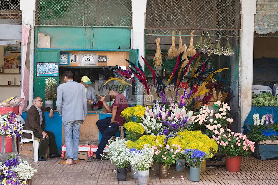 Afrique/Afrique du Nord/Maroc /Casablanca: le marché central boulevard Mohammed V étal des fleuristes