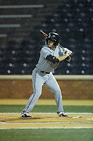 Matt Frey (24) of the Davidson Wildcats at bat against the Wake Forest Demon Deacons at David F. Couch Ballpark on May 7, 2019 in  Winston-Salem, North Carolina. The Demon Deacons defeated the Wildcats 11-8. (Brian Westerholt/Four Seam Images)