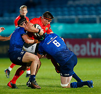 23th April 2021; RDS Arena, Dublin, Leinster, Ireland; Rainbow Cup Rugby, Leinster versus Munster; CJ Stander of Munster is tackled by James Lowe and Josh Murphy of Leinster