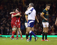Pictured L-R: Taulupe Faletau of Wales hugs team mate Alex Cuthbert as the referee marks the end of the game with the final whistle, a South Africa player stand dejected (R) Saturday 29 November 2014<br />