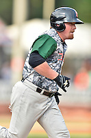 Augusta GreenJackets first baseman Skyler Ewing (25) runs to first base during a game against the Asheville Tourists at McCormick Field on July 21, 2016 in Asheville, North Carolina. The GreenJackets defeated the Tourists 6-3. (Tony Farlow/Four Seam Images)