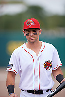 Florida Fire Frogs second baseman Alejandro Salazar (18) before a game against the Daytona Tortugas on April 7, 2018 at Osceola County Stadium in Kissimmee, Florida.  Daytona defeated Florida 4-3.  (Mike Janes/Four Seam Images)