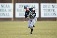 Akron Zips left fielder Dan Lawrence (38) makes a running catch during the game against the Charlotte 49ers at Hayes Stadium on February 22, 2015 in Charlotte, North Carolina.  The Zips defeated the 49ers 5-4.  (Brian Westerholt/Four Seam Images)