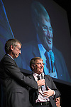 St Johnstone Hall of Fame Dinner, Perth Concert Hall...05.10.13<br /> Former St Johnstone Chairman Geoff Brown talks with MC Gordon Bannerman during the awards.<br /> Picture by Graeme Hart.<br /> Copyright Perthshire Picture Agency<br /> Tel: 01738 623350  Mobile: 07990 594431