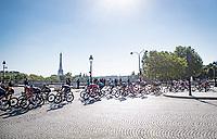 peloton passing in front of the Eiffel Tower<br /> <br /> Stage 21 (Final) from Chatou to Paris - Champs-Élysées (108km)<br /> 108th Tour de France 2021 (2.UWT)<br /> <br /> ©kramon