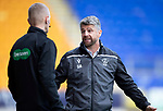 St Johnstone v Motherwell…28.09.19   McDiarmid Park   SPFL<br />Stephen Robinson has words with 4th official Mike Roncone after Liam Donnelly was sent off<br />Picture by Graeme Hart.<br />Copyright Perthshire Picture Agency<br />Tel: 01738 623350  Mobile: 07990 594431