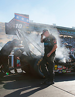Jul 26, 2019; Sonoma, CA, USA; Crew members for NHRA top fuel driver Scott Palmer during qualifying for the Sonoma Nationals at Sonoma Raceway. Mandatory Credit: Mark J. Rebilas-USA TODAY Sports