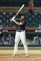 AZL Giants Black third baseman Sean Roby (5) at bat during an Arizona League game against the AZL Rangers at Scottsdale Stadium on August 4, 2018 in Scottsdale, Arizona. The AZL Giants Black defeated the AZL Rangers by a score of 6-3 in the second game of a doubleheader. (Zachary Lucy/Four Seam Images)