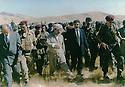 Iraq 1994 .Meeting  of Kosrat Rasul with Masoud Barzani in the mountains. Left, Jabar Fermand  .<br /> <br /> Irak 1994 .Rencontre de Kosrat Rasul avec Masoud Barzani dans les montagnes. A gauche, Jabar Fermand