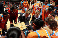 CHARLOTTESVILLE, VA- NOVEMBER 20: Head coach Pat Summitt of the Tennessee Lady Volunteers talks with her players in a huddle before the start of the game on November 20, 2011 against the Virginia Cavaliers at the John Paul Jones Arena in Charlottesville, Virginia. Virginia defeated Tennessee in overtime 69-64. (Photo by Andrew Shurtleff/Getty Images) *** Local Caption *** Pat Summitt