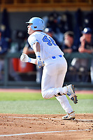 North Carolina Tar Heels designated hitter Ben Casparius (46) runs to first base during a game against the Pittsburgh Panthers at Boshamer Stadium on March 17, 2018 in Chapel Hill, North Carolina. The Tar Heels defeated the Panthers 4-0. (Tony Farlow/Four Seam Images)