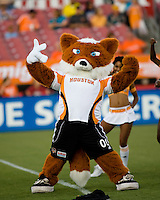Houston Dynamo mascot Dynamo Diesel pumps up the crowd before the game. The Houston Dynamo tied the Columbus Crew 1-1 in a regular season MLS match at Robertson Stadium in Houston, TX on August 25, 2007.