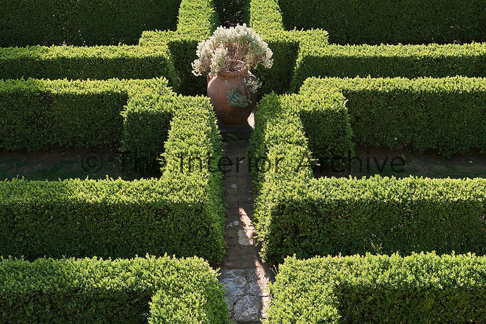 A maze-like contemporary box parterre is interspersed with a series of weathered brick paths which lead to an  antique terracotta urn at its centre
