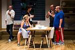 "The director Daniel Veronese talking with the actors Maribel Verdu, Pilas Castro, Jorge Calvo and Jorge Bosch during theater play of ""Invencible"" at Teatros del Canal in Madrid. October 27, Spain. 2016. (ALTERPHOTOS/BorjaB.Hojas)"