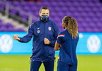 ORLANDO, FL - JANUARY 18: Vlatko Andonovski talks with Catarina Macario #29 of the USWNT before a game between Colombia and USWNT at Exploria Stadium on January 18, 2021 in Orlando, Florida.