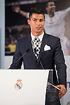Cristiano Ronaldo during the tribute to Cristiano Ronaldo by Real Madrid CF on the occasion of his new record by being the top scorer in the club's history at Santiago Bernabeu Stadium in Madrid, October 02, 2015.<br /> (ALTERPHOTOS/BorjaB.Hojas)