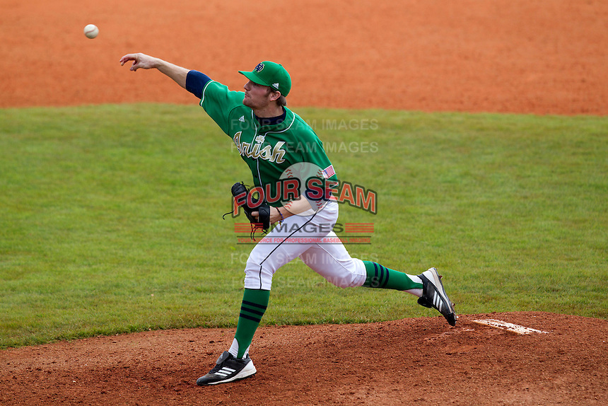 Notre Dame Fighting Irish pitcher Breck Ashdown #27 delivers a pitch during a game against the Purdue Boilermakers at the Big Ten/Big East Challenge at Al Lang Stadium on February 19, 2012 in St. Petersburg, Florida.  (Mike Janes/Four Seam Images)