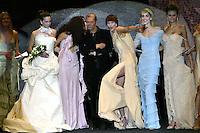 Roma 28/1/2004 <br /> Alta Moda Roma - Haute Couture - Fashion<br /> Dress collection of stylist Egon Von Furstenberg.<br /> In this picture the stylist with his models<br /> Foto Andrea Staccioli Insidefoto
