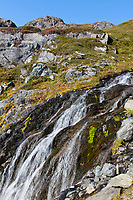 Waterfalls on the Kenai Mountain hillsides, Kenai Fjords National Park, Kenai Peninsula, southcentral, Alaska.