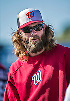 16 March 2014: Washington Nationals outfielder Jayson Werth awaits his turn in the batting cage prior to a Spring Training Game against the Detroit Tigers at Space Coast Stadium in Viera, Florida. The Tigers edged out the Nationals 2-1 in Grapefruit League play. Mandatory Credit: Ed Wolfstein Photo *** RAW (NEF) Image File Available ***